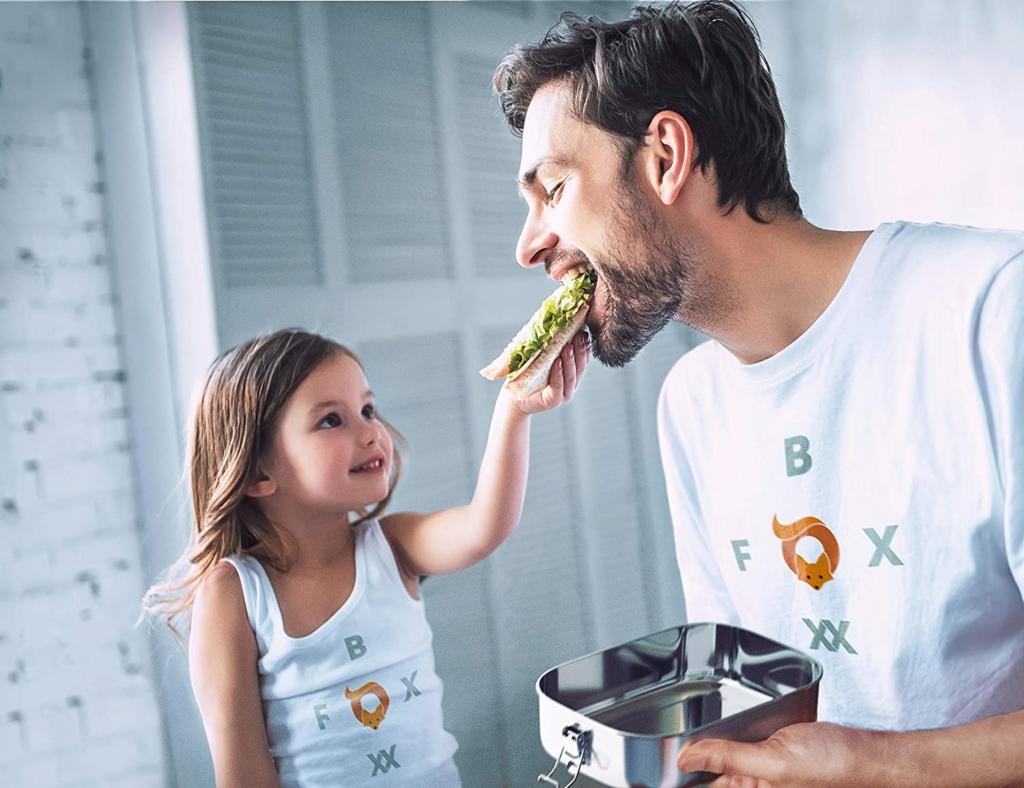 Brotdose Edelstahl Premium Auslaufsicher mit 2 Fächer plastikfrei nachhaltig