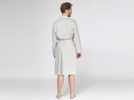 Bademantel Jersey White Grey von Yumeko
