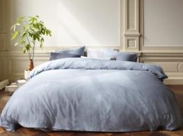 Bettwäscheset Baumwollsatin Faded Blue 155x220 + 2/80x80 von Yumeko