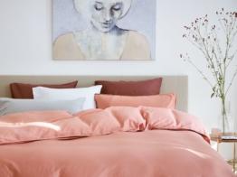 Bettwäscheset Gewaschen Baumwollsatin Pink von Yumeko