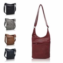 CASAdiNOVA ® Vegane Damen Hand-Tasche in rot, elegante Frauen Schulter-Tasche mit Reißverschluss, moderne und sportliche Umhänge-Tasche aus Leder - 1