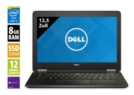 Dell Latitude E7270 - 12,5 Zoll - Core i5-6200U @ 2,3 GHz - 8GB RAM - 250GB SSD - FHD (1920x1080) - Webcam - Win10Pro