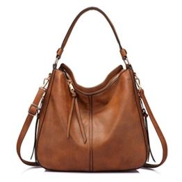 Handtaschen Damen Lederimitat Umhängetasche Designer Taschen Hobo Taschen groß Mit Quasten Braun - 1
