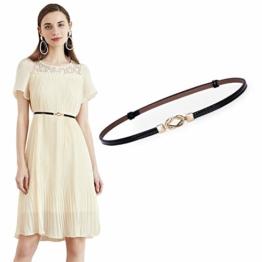 JasGood Damen Leder Slim Taillen Gürtel Einstellbar dünner Gürtel mit ineinandergreifender Schnalle für Kleid, Schwarz, unter 95cm Taillen - 1