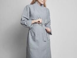 Kimono Bademantel Gewaschen Leinen Dusk Blue S von Yumeko