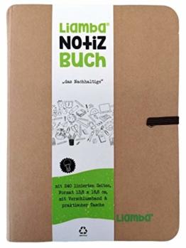 Liamba Notizbuch | liniert | 13,8 cm x 18,8 cm | 240 Seiten | nachhaltiges Notizbuch aus FSC-zertifiziertem Papier mit Verschlussband und praktischer Tasche | in Deutschland hergestellt - 1