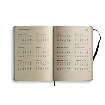 Nachhaltiger Kalender A5 aus Graspapier, Samaya 2021 - Easy,152 Seiten, Natur, V-Label zertifiziert, Made in Germany (DE/EN) - 2