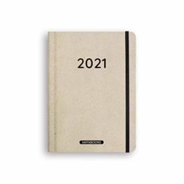 Nachhaltiger Kalender A5 aus Graspapier, Samaya 2021 - Easy,152 Seiten, Natur, V-Label zertifiziert, Made in Germany (DE/EN) - 1