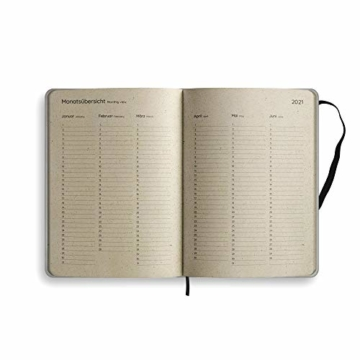 Nachhaltiger Kalender A5 aus Graspapier, Samaya 2021 - Easy,152 Seiten, Natur, V-Label zertifiziert, Made in Germany (DE/EN) - 8
