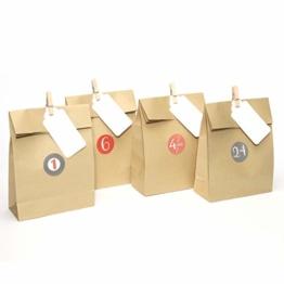 Plantvibes 24 Adventstüten aus hochwertigem Kraftpapier inkl. Namenskarten, Holzklammern und Stickern, Papiertüten ideal für Adventskalender zum Selber-Machen für Kinder, Weihnachtstüten - 1